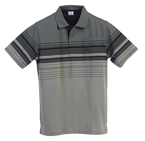 Sleeve Striped Short Shirt Mens (Gioberti Mens Modern Fit Striped Polo Shirt With Pocket, Charcoal B, X-Large)