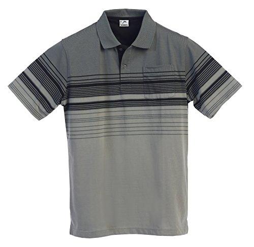 Mens Striped Short Shirt Sleeve (Gioberti Mens Modern Fit Striped Polo Shirt With Pocket, Charcoal B, X-Large)