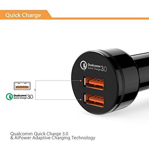 CRDC Car Charger Quick Charge 3.0 Fast QC3.0 USB Car Mobile Phone Charger for iPhone Xiaomi mi7 Samsung s8 as Aukey car-charger