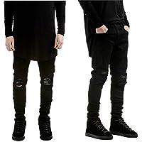 Leward Men's Slim Fit Black Stretch Destroyed Ripped Skinny Denim Jeans