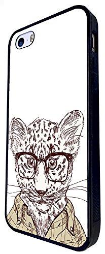 936 - Cool Cute Fun Baby Leopard Cheetah Nerd Glasses Clothing Wildlife Cartoon Illustration Doodle Cat Kitten Feline Design iphone SE - 2016 Coque Fashion Trend Case Coque Protection Cover plastique