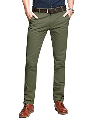 Match Mens Slim-Tapered Flat-Front Casual Pants(Light army (Mens Chino Pants)