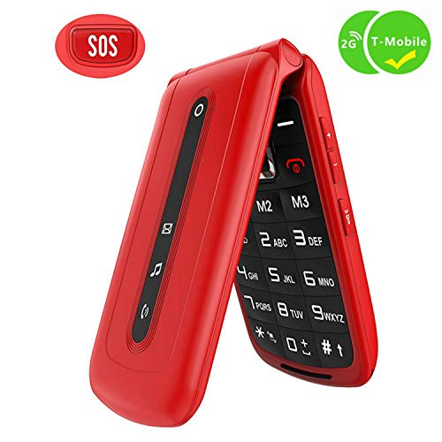Ushining Flip Phone Unlocked SOS Button Dual SIM Card Easy to Use Unlocked Flip Cell Phone Large Button Large Speaker Compatible with 2G T-Mobile Simple Mobile Straight Talk Lycia(Red) (Best Mobile Phone For 100)