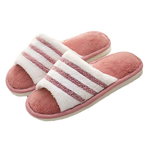 xsby Open Toe Cotton Slippers Memory Foam Couple Anti-Slip Indoor Outdoor Washable House Shoes Wine Red A -