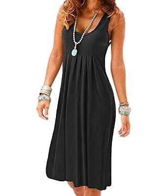 Uniboutique Women's Summer Sleeveless Round Neck Casual Pleated Cotton Beach Dress
