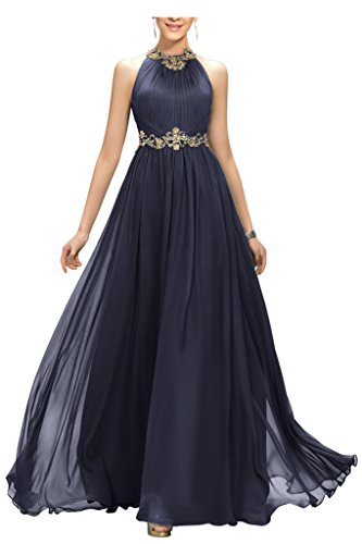 Chiffon Beaded Long Gown - 6