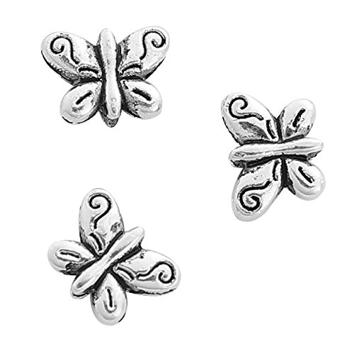 Butterfly Spacer Beads, 95 Pack, Small 10mm (3/8 Inch) with 0.2mm Hole (Charm Pewter Butterfly)