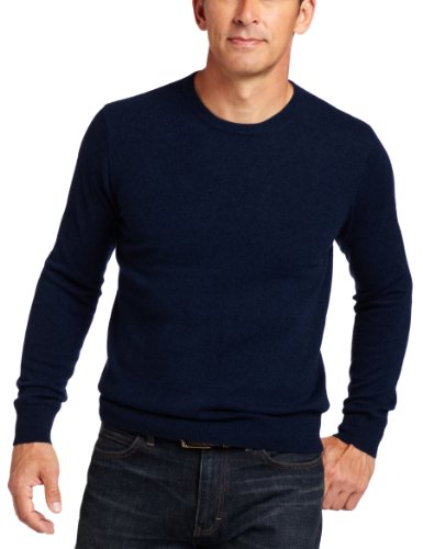 Williams Cashmere Men's 100% Cashmere  Long Sleeve Crew Neck Sweater, Navy, - Cashmere 100% Crew Sweater
