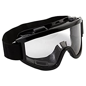 7Trees Adult Motorbike ATV / Dirt Bike Racing Transparent Goggles With Adjustable Strap – Black