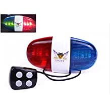 Wolfride® Cycling Bike Electric Horn [4 Sounds] Bicycle Police Siren Bell [6 LED Lights]