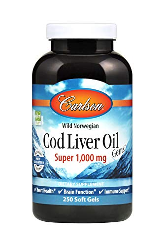 Carlson - Cod Liver Oil, Super 1000 miligrams, Wild Norwegian, Sustainably Sourced, 250 Soft Gels