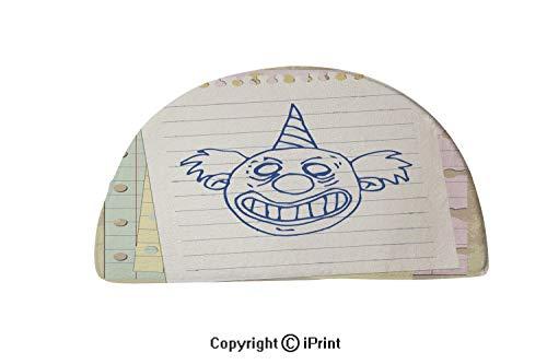 LEFEDZYLJHGO Indoor Doormat Mud Absorbent Rubber Backing Non Slip Door Mat,32x20 inch,Clown Halloween Symbol Cartoon Illustration