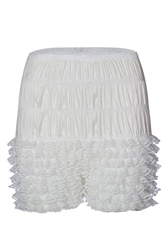 party train Womens Ruffle Panties Sexy Dance Bloomers Lace Sissy Pettipants Booty Shorts White (Lace Square Dance)