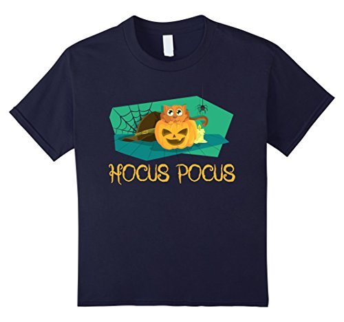 Hocus Pocus Cast Costumes (Kids Hocus Pocus Cat, Pumpkin & Witch Hat Halloween T Shirt 12 Navy)