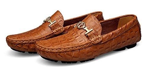 Jiye Heren Lederen Mode Lopen Casual Loafers Schoenen Bruin