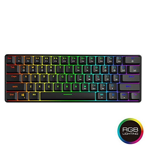 HK Gaming - GK61 Hot Swappable Mechanical Keyboard - 61 Keys Multi Color RGB Illuminated LED Backlit Wired Gaming Keyboard, Waterproof Programmable, for PC/Mac Gamer, Typist (Gateron Optical Brown)
