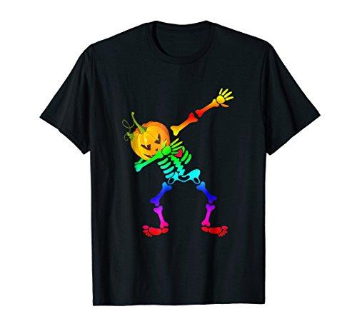 LGBT dabbing skeleton halloween shirt Pumpkin head