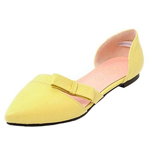 4 TAOFFEN Pointue Sandales Yellow Femmes xwABw1O
