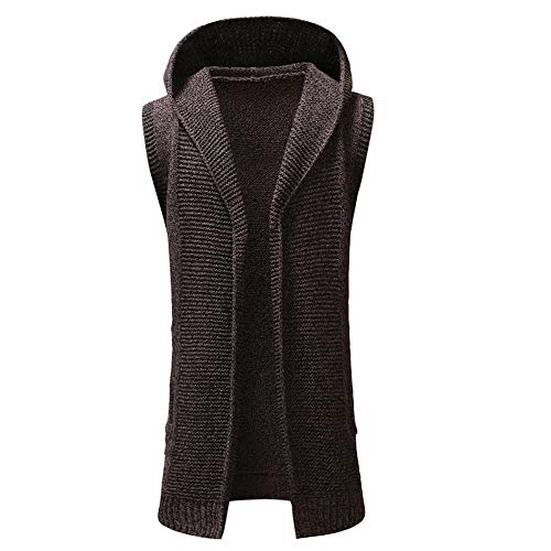 Sleeveless Brother - iMakcc Men's Sleeveless Ruffle Shawl Collar Cardigan Hooded Solid Knit Trench Coat Jacket Outwear (XL, Coffee)