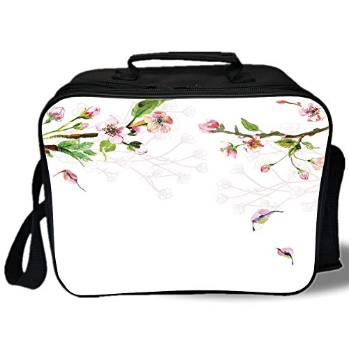 Watercolor 3D Print Insulated Lunch Bag,Tree Blooming in Spring Season Branches Falling Leaves Romantic Decorative,for Work/School/Picnic,Light Pink Green (Tiered Branches)