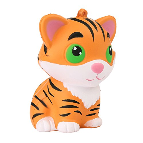 Stress Reliever Key - fomoisclU Slow Rising Soft Toy Squishies Jumbo Squishy Scented Cute Tiger Animal Squeeze Toys Stress Reliever Key Chain Charm Pendent Party Bag Fillers Gift Party Favors for Kids Boys Girls Adults