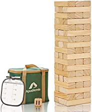 ApudArmis 54 PCS Tumble Timber Set [Stack to 3FT], Pine Wooden Tumble Tower Game with Dice and Scoreboard Set