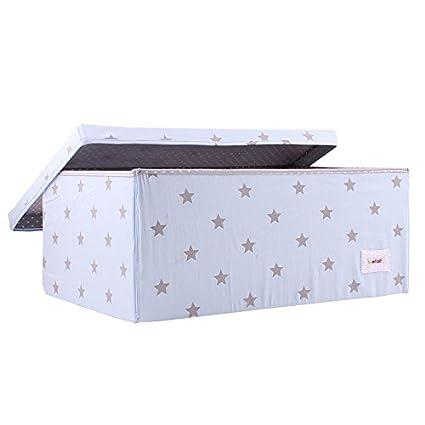 Minene - Caja grande de almacenamiento con tapa, azul con estrellas grises, ideales para