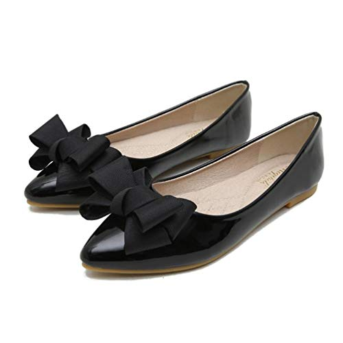 - JOYBI Women Flat Dress Shoes Pointed Toe PU Leather Butterfly-Knot Comfort Slip On Fashion Party Loafers Black