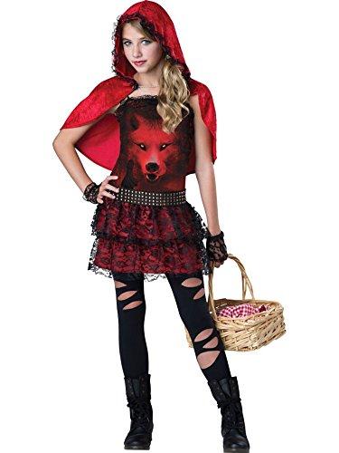 InCharacter Costumes Twen Girls Red In The Hood Costume, Red/White, Medium
