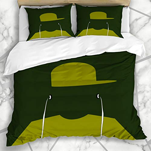Ahawoso Duvet Cover Sets King 90x104 Kid Green Music Youth Wearing Baseball Cap Earphones Hip Teenager Hat Headphones Design Hop Microfiber Bedding with 2 Pillow Shams