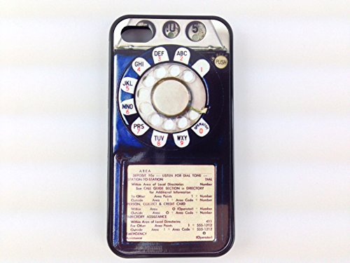 Iphone 4, Iphone 4s Vintage Rotary Payphone Case, Awesome Retro Look. Free Screen Protector! (Black Case)