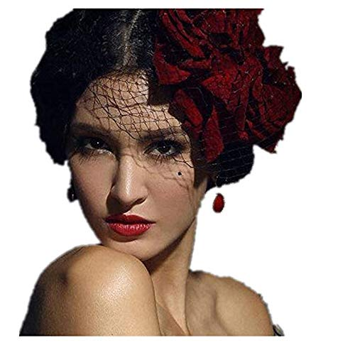 (Mini Top Hat Red Flower Rose Hats Veil Gothic Lolita Fancy)