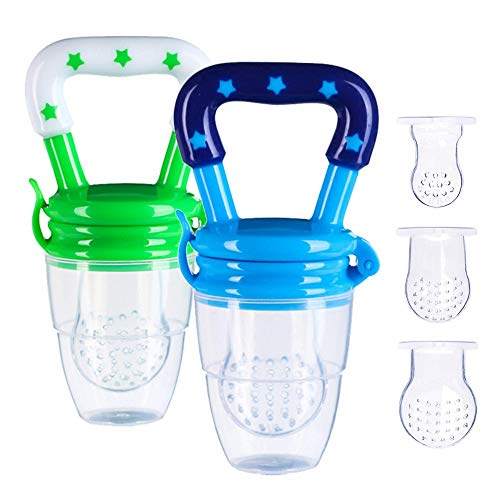 - Baby Food Feeder, Fresh Feeder Pacifier, 2 Pack with 3 Different Sized Silicone Pouches Infant Teether Feeder for Toddlers, Infants