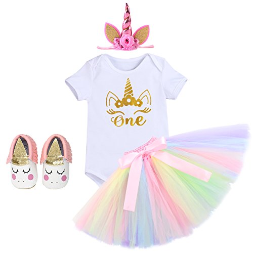 Infant Girls 1st Birthday Unicorn Boutique Outfit Dress Cake Smash One Piece Romper Tulle Tutu Skirt with Flower Headband Gown 4pcs White Shoes+Unicorn Headband 12-18 Months -