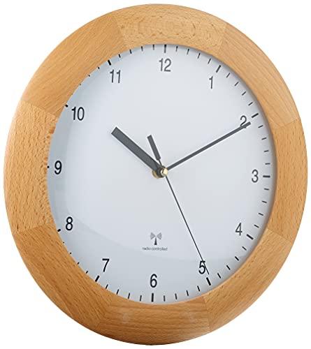 TFA 98.1065 - Reloj de Pared controlado por Radio (300 mm x 50 mm, 800 g), Marco de Madera