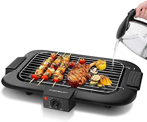 Aigostar Tasty - Gril sans Fumée, Barbecue Electrique d'intérieur. 2000W, Thermostat, Taille Compacte. Utilisation Avec de l'eau: Evite Taches et Fumée. Entièrement Démontable.