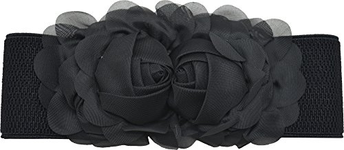 Meta-U Women Cute Bow/Flower Wide Elastic Waist Belt - Adorable Dress Accessory