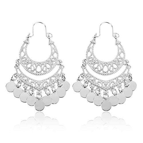 RIAH FASHION Bohemian Chandelier Coin Dangle Earrings - Gypsy Lightweight Filigree Disc Charm Tassel Ethnic Hoops (Mini - Silver) ()