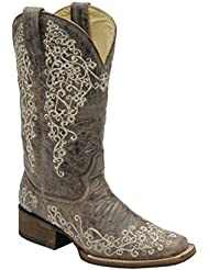CORRAL Womens Crater Embroidered Cowgirl Boot Square Toe - A2663