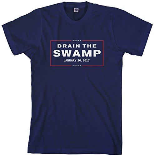 Threadrock Men's Drain The Swamp President Trump 2017 Inauguration T-Shirt XL Navy