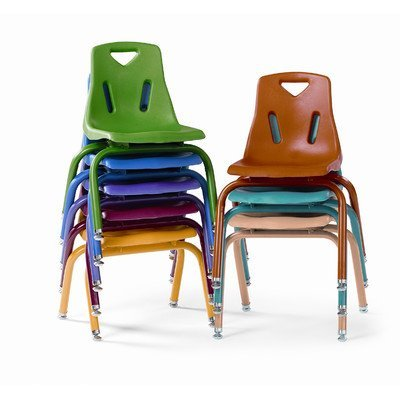 Berries Kids Classroom Stacking Chairs with Powder-Coated Legs 14'' Height Set of 6 Camel