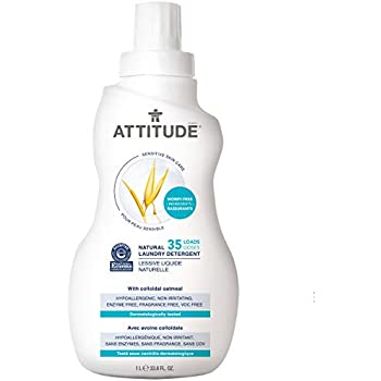 ATTITUDE Sensitive Skin, Hypoallergenic Laundry Detergent, Fragrance Free, 33.8 Fluid Ounce, 35 Loads