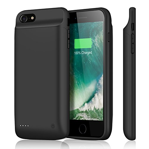 iPhone 8 Plus 7 Plus Battery Case YISHDA 4000mAh Slim 5.5-Inch Extended Battery Power Charger for iPhone 8Plus 7Plus 6S Plus with 4 LED Indicator Portable Backup Battery Charging Case Protetive Cover – Black