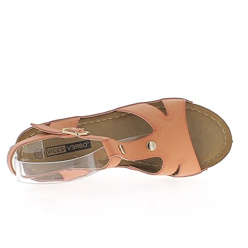 ChaussMoi Tacón de 7cm de sandalias de cuña naranja y espesor 3cm tacón de madera