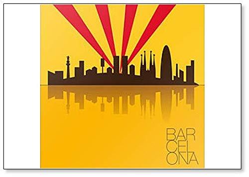 Barcelona Skyline Artwork Classic imán para nevera: Amazon.es: Hogar