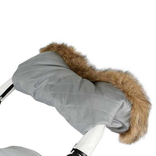 Blue Pram Fur Hood and Handmuff Set