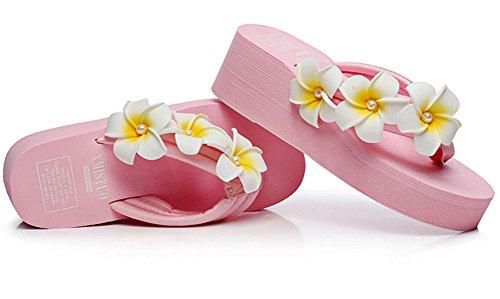 QZUnique Women's Summer Fashion Bohemia Creative Elegant Flip Flops Pink US 6-6.5 by QZUnique (Image #3)