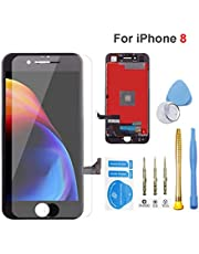 for iPhone 8 Screen Replacement Black Assembly LCD Display Touch Screen Digitizer Frame Assembly Full Set with Free Repair Tools Kit and Professional Glass Screen Protector (8 Black)