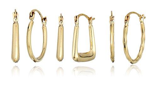 10k Yellow Gold Set of Three - Square Hoop/Oval Textured Hoop/Round Tube Hoop Earrings Gold Hoop Jewelry Set