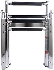 Heavy Duty 316 Stainless Steel 4 Steps Pontoon Boat Ladder,Folding Telescoping Rear Entry Dock Ladder with Pop